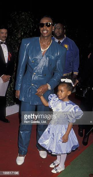 Rapper MC Hammer and daughter A'Keiba Burrell attend 19th Annual American Music Awards on January 27 1992 at the Shrine Auditorium in Los Angeles...