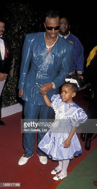 Rapper MC Hammer and dauther A'Keiba Burrell attend 19th Annual American Music Awards on January 27 1992 at the Shrine Auditorium in Los Angeles...
