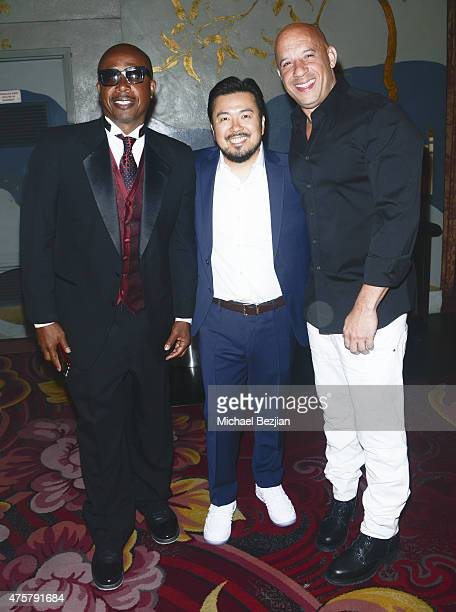 Rapper MC Hammer Film Director Justin Lin and Actor Vin Diesel pose for portrait at Bruno Wu and Seven Stars Entertainment Sponsor TCL Chinese...