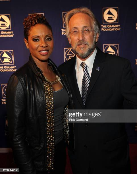 Rapper MC Lyte and National Academy of Recording Arts and Sciences president Neil Portnow attend the 53rd Annual GRAMMY Awards Music Preservation...