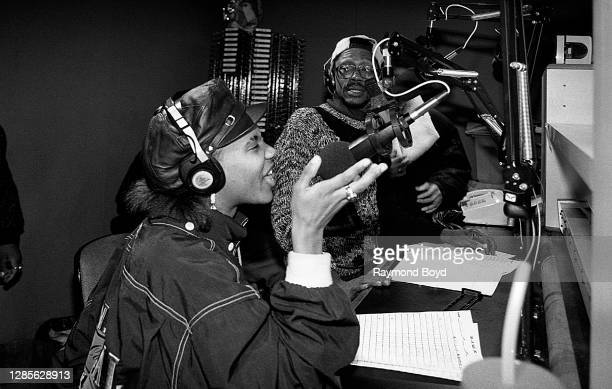 Rapper MC Lyte is interviewed at WGCI-FM radio in Chicago, Illinois in October1989.