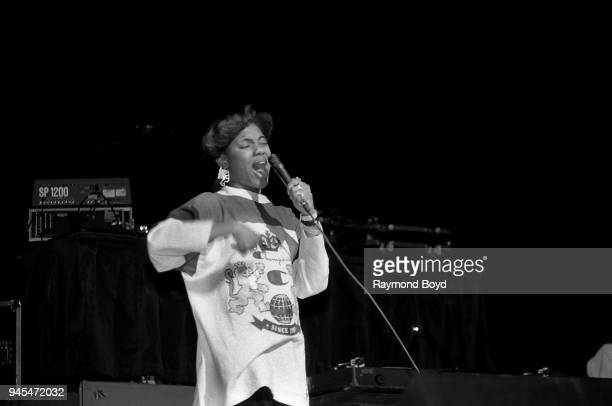 Rapper MC Lyte performs at the Arie Crown Theater in Chicago Illinois in February 1989