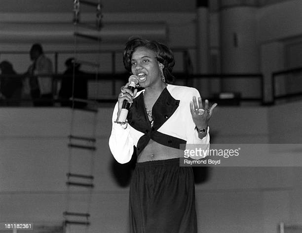 Rapper MC Lyte performs at the Regal Theater in Chicago Illinois in NOVEMBER 1989