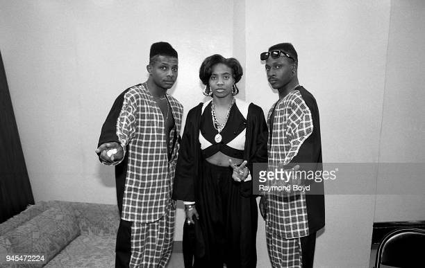 Rapper MC Lyte and her dancers Leg 1 and Leg 2 poses for photos backstage at the UIC Pavilion in Chicago Illinois in November 1989