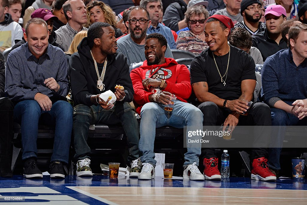 Rapper, Meek Mill and Comedian, Kevin Hart watch the Houston Rockets game against the Philadelphia 76ers at Wells Fargo Center on January 27, 2017 in Philadelphia, Pennsylvania