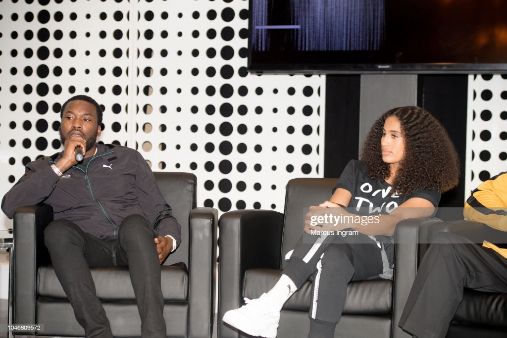 e807e42834be Rapper Meek Mill and Skylar Diggins-Smith speak on stage during the ...