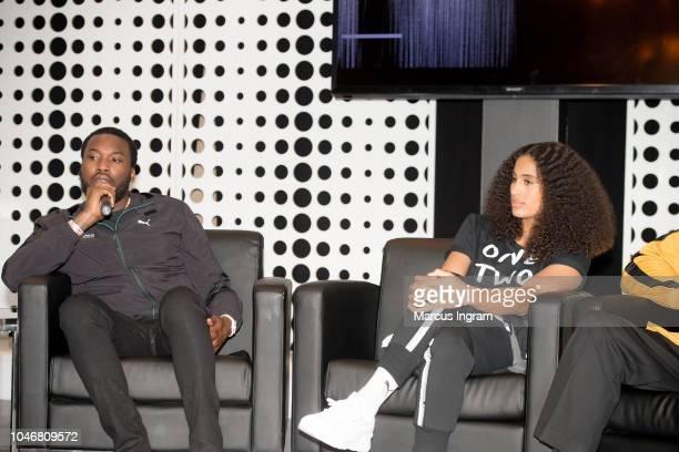 Rapper Meek Mill and Skylar DigginsSmith speak on stage during the QA Puma   Reform Lanuch b4450da37