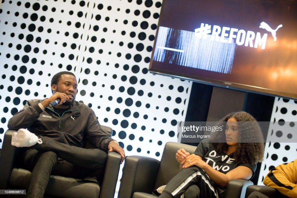 Rapper Meek Mill and Skylar Diggins-Smith speak on stage during the ... 3ea546793