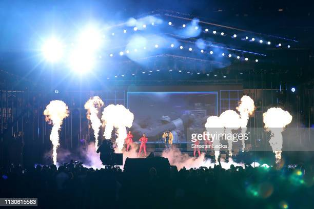 Rapper Meek Mill peforms during the pregame ceremony before Team LeBron faces Team Giannis during the NBA AllStar game as part of the 2019 NBA...