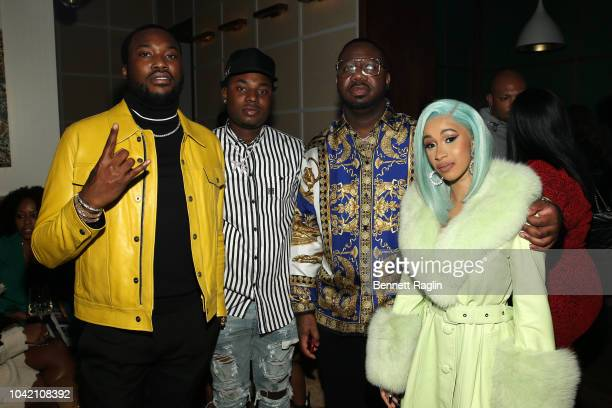 """Rapper Meek Mill Rapper Marlo Quality Control's Pierre """"Pee"""" Thomas and Rapper Cardi B attend the Billboard 2018 RB HipHop Power Players event at..."""