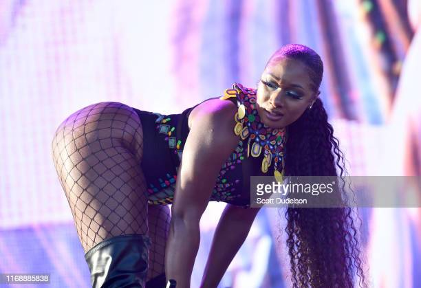 Rapper Megan Thee Stallion performs onstage during the Yola Dia Fest at Los Angeles Historical Park on August 18 2019 in Los Angeles California