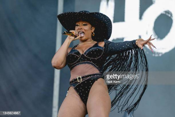 Rapper Megan Thee Stallion performs onstage during weekend two, day one of the Austin City Limits Music Festival at Zilker Park on October 08, 2021...