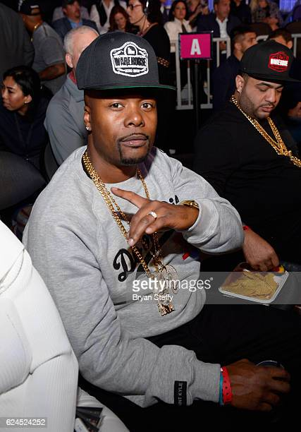 Rapper Memphis Bleek sits in the audience during Kovalev vs Ward and D'USSE Lounge at TMobile Arena on November 19 2016 in Las Vegas Nevada
