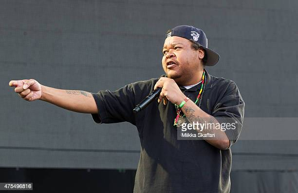 Rapper Michael Turner aka Double K of People Under the Stairs performs at Bottle Rock festival at Napa Valley Expo on May 31, 2015 in Napa,...