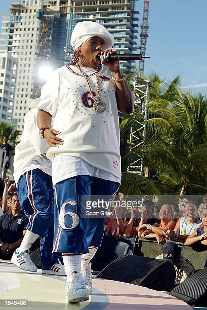 Rapper Missy Elliot performs during a taping for MTV Spring Break 2003 at the Surfcomber Hotel March 12 2003 in Miami Beach Florida