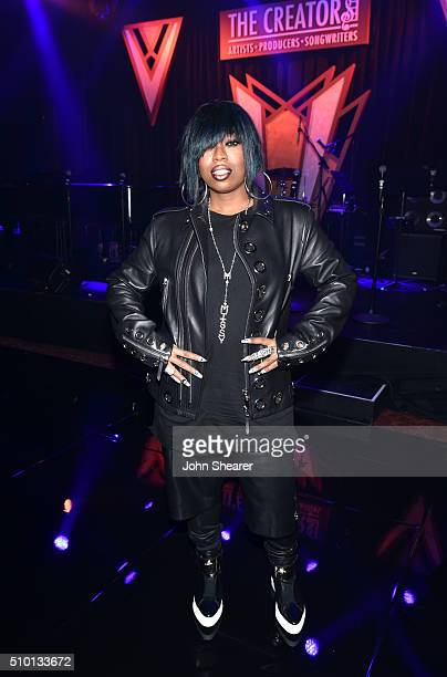 Rapper Missy Elliott attends The Creators Party Presented by Spotify Cicada Los Angeles at Cicada on February 13 2016 in Los Angeles California