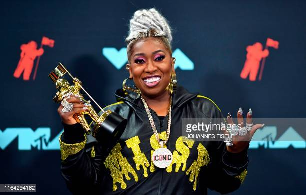 US rapper Missy Elliott poses in the press room with 'The Video Vanguard Award' during the 2019 MTV Video Music Awards at the Prudential Center in...