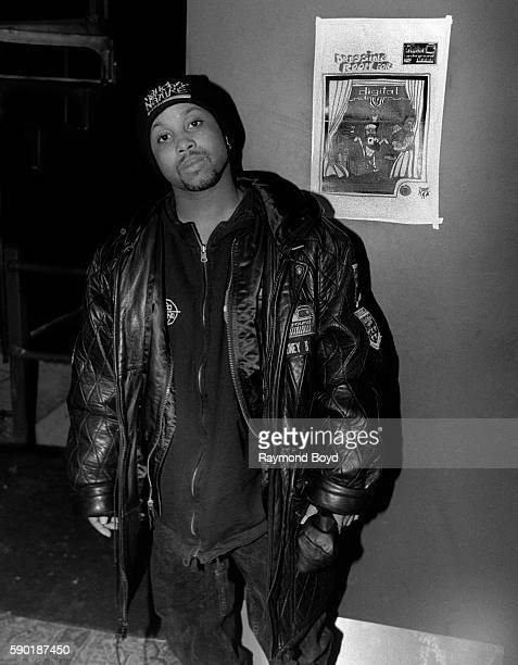 Rapper MoneyB formerly from Digital Underground poses for photos backstage at the New Regal Theater in Chicago Illinois in January 1992
