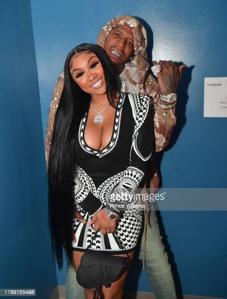 Rapper MoneyBagg Yo and Ariana Fletcher backstage at the MoneyBagg Yo Concert at The Masquerade on January 10 2020 in Atlanta Georgia