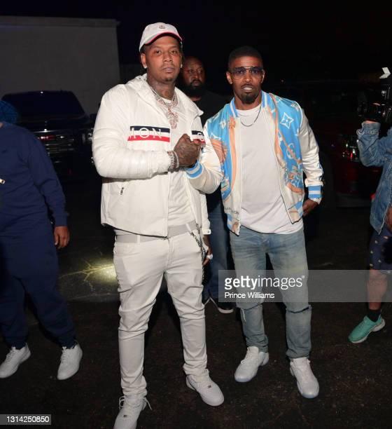 Rapper Moneybagg Yo and Jamie Foxx attend Onyx Friday Nights at Onyx Nightclub on April 24, 2021 in Atlanta, Georgia.