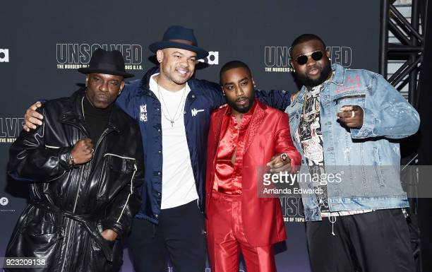 Rapper Mopreme Shakur director Anthony Hemingway and actors Marcc Rose and Wavyy Jonez arrive at the premiere of USA Network's 'Unsolved The Murders...