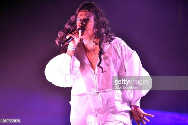 Rapper Mykki Blanco performs onstage as a special guest during Charli XCX 'Pop 2' performance at El Rey Theatre on March 15 2018 in Los Angeles...