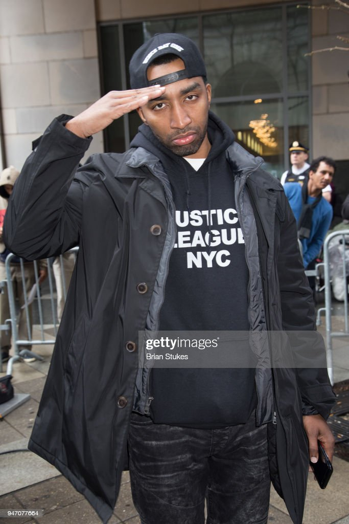 Rapper Mysonne attends Meek Mill supporters protest on day of status hearing at Philadelphia Criminal Justice Center on April 16, 2018 in Philadelphia, Pennsylvania.