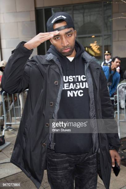 Rapper Mysonne attends Meek Mill supporters protest on day of status hearing at Philadelphia Criminal Justice Center on April 16 2018 in Philadelphia...