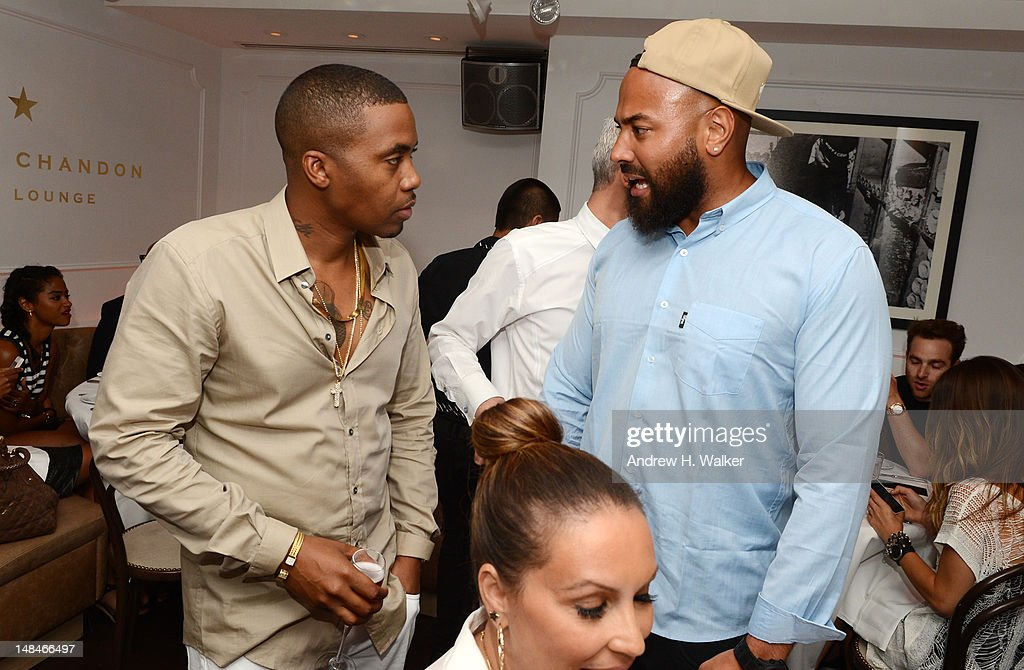 Rapper Nas (L) and radio personality Ebro Darden attend Moet Rose Lounge Presents Nas' Life Is Good at Bagatelle on July 16, 2012 in New York City.