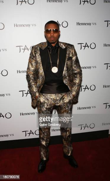 Rapper Nas arrives for his 40th birthday celebration at the Tao Nightclub at The Venetian Las Vegas on September 14 2013 in Las Vegas Nevada