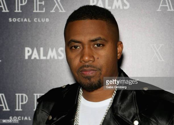 Rapper Nas attends the grand opening of Apex Social Club and Camden Cocktail Lounge at the Palms Casino Resort on May 26 2018 in Las Vegas Nevada