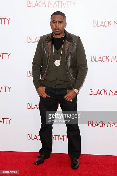 Rapper Nas attends the'Black Nativity' premiere at The Apollo Theater on November 18 2013 in New York City