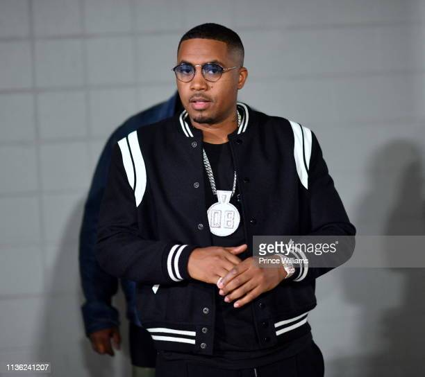 Rapper Nas is seen backstage at Erykah Badu Nas in Concert at State Farm Arena on March 15 2019 in Atlanta Georgia