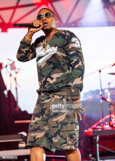 Rapper Nas performs at Chene Park on June 23 2018 in Detroit Michigan