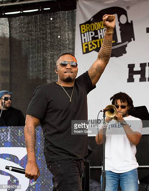 Rapper Nas performs during the 12th Annual Brooklyn Hip Hop Festival finale concert at Brooklyn Bridge Park on July 16 2016 in New York City