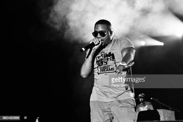 Rapper Nas performs in concert during 2018 Funk Fest Tour at Wolf Creek Amphitheater on May 19 2018 in Atlanta Georgia