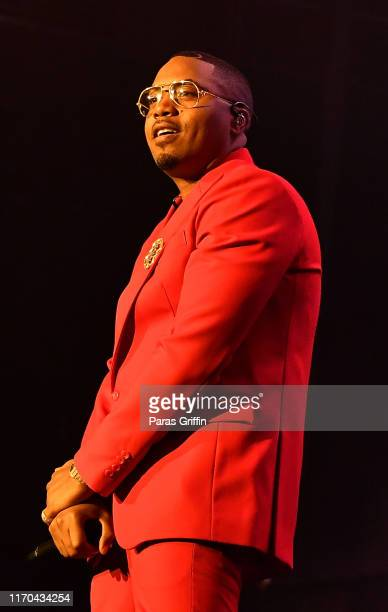 Rapper Nas performs in concert during 'The Royalty Tour' at Cellairis Amphitheatre at Lakewood on August 26 2019 in Atlanta Georgia