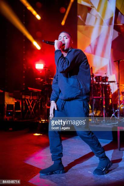 Rapper NAS performs in support of the PowerNomics Tour at Michigan Lottery Amphitheatre on September 8 2017 in Sterling Heights Michigan