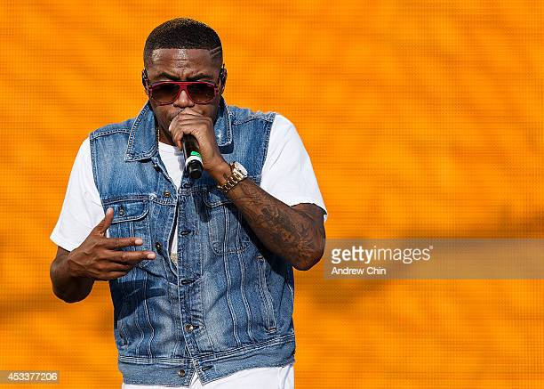 Rapper Nas performs on stage during Day 1 of Squamish Valley Music Festival on August 8 2014 in Squamish Canada