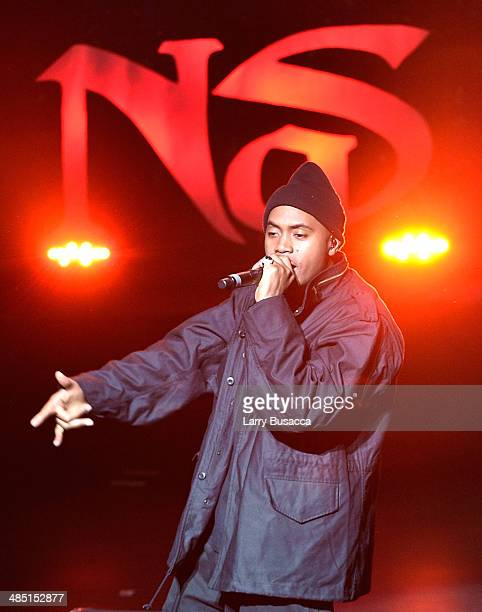 Rapper Nas performs onstage at the Opening Night Concert during the 2014 Tribeca Film Festival at The Beacon Theatre on April 16 2014 in New York City