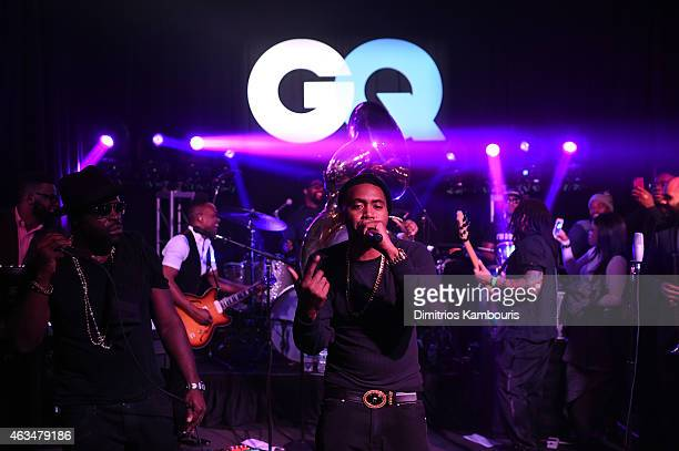 Rapper Nas performs onstage with The Roots at GQ and LeBron James Celebrate AllStar Style on February 14 2015 in New York City