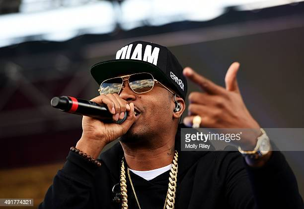 Rapper Nas performs prior to the 139th running of the Preakness Stakes at Pimlico Race Course on May 17 2014 in Baltimore Maryland