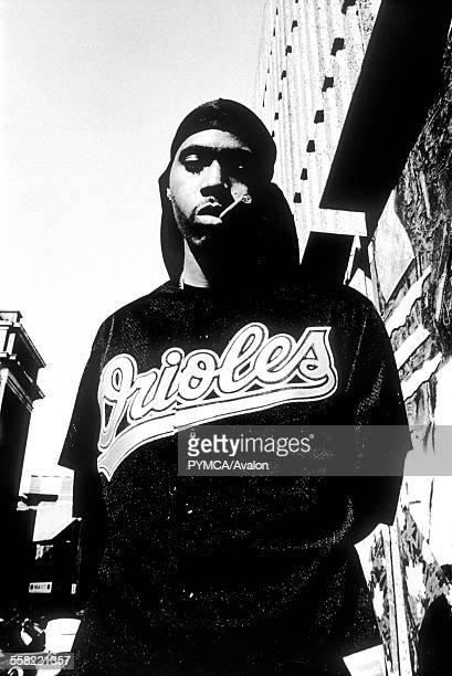 US rapper Nas posing in New York USA 1990's