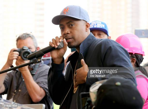 Rapper NAS speaks at The Universal Hip Hop Museum Groundbreaking Ceremony Held In Bronx Point on May 20, 2021 in New York City.