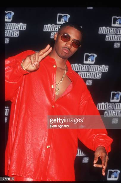 Rapper Nas stands backstage at the MTV Video Music Awards September 4 1996 in New York City The awards honored music videos produced by popular...