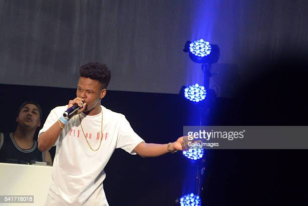 SA rapper Nasty C performs during the Castle Lite Unlocks J Cole concert at the Ticketpro Dome on June 18 2016 in Johannesburg South Africa Having...
