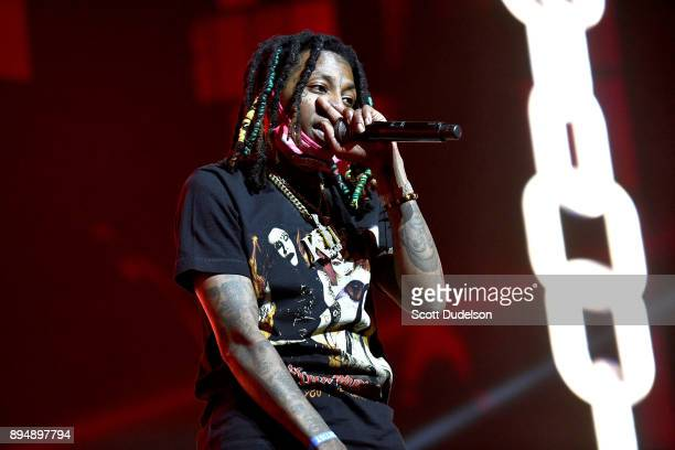 Rapper Nef the Pharaoh performs onstage during day two of the Rolling Loud Festival at NOS Events Center on December 17 2017 in San Bernardino...