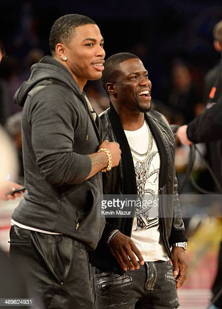 Rapper Nelly and Comedian Kevin Hart attend the State Farm All-Star Saturday Night during the NBA All-Star Weekend 2014 at The Smoothie King Center...