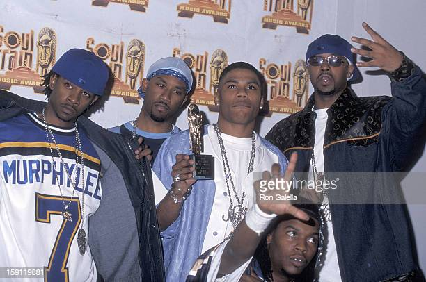 Rapper Nelly and his posse the St Lunatics attend the 15th Annual Soul Train Music Awards on February 28 2001 at the Shrine Auditorium in Los Angeles...
