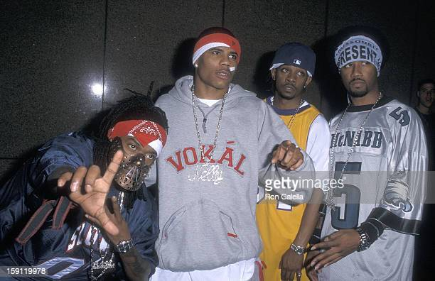 Rapper Nelly and his posse the St Lunatics attend the 'Michael Jackson 30th Anniversary Celebration' Concert Special on September 7 2001 at Madison...
